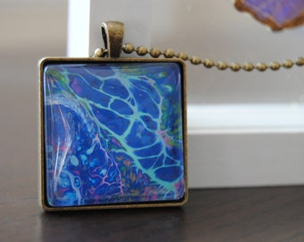 Blue Acrylic Cells Pendant Necklace / Jewelry / Mother's Day gift / Acrylic Pour Art / Wearable Art