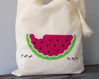 Watermelon Picnic Hand Painted Canvas tote bag. Picnic, Holiday Summer bag, Festival bag, Beach bag. Ants Watermelon print. Watermelon gift