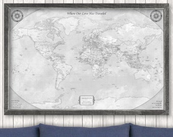 Rustic World Map Push Pin Map on Canvas World Travel Map Large Framed World Map Unique Gift for Travelers Anniversary Gift for Men Custom