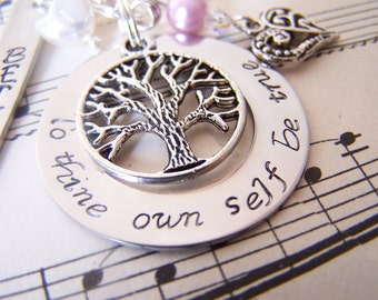 To Thine Own Self Be True, Hand Stamped inspirational necklace, hypoallergenic jewelry, personalized necklace