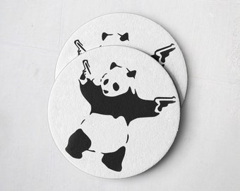 Banksy Drink Coasters – Absorbent Coaster Set of 10 – Coasters for Women & Men – Heavyweight Reusable Thick Pulpboard - Panda with Guns