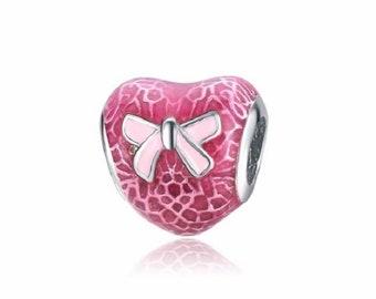 1 Dark Pink Enamel Lace Heart European Bead for Charm Bracelets - 18J