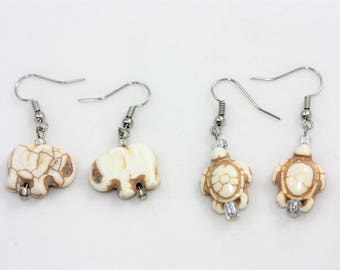 White Turquoise Elephant & Turtles Drop Earrings Set | Natural Beach Jewelry Accessories | La Isla Creations by Maribel
