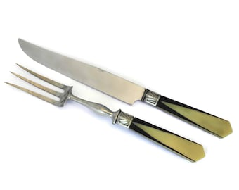 Art Deco Carving Knife and Fork Set with Bakelite Handles. Geometric Table Decor. Foodie Gifts.