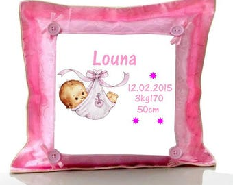 Pink cushion Date, time, weight of baby personalized with name
