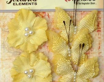 Petaloo Textured Elements Burlap Butterflies and Blooms in Yellow