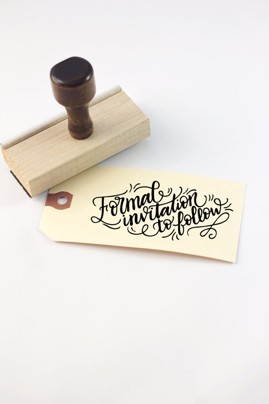 Formal invitation to follow save the date stamp DIY wedding from