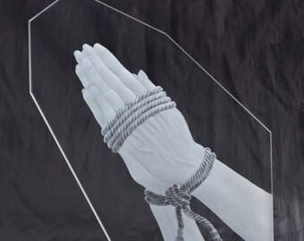 Glass sculpture Praying Hands II-inspired by Albrecht Dürer