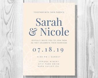 Lesbian Wedding Invitation - Printable