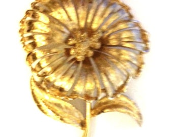 Monet Gold Tone Flower With Leaves Pin Brooch Vintage Monet Signed Gift for Mom Gift for Her