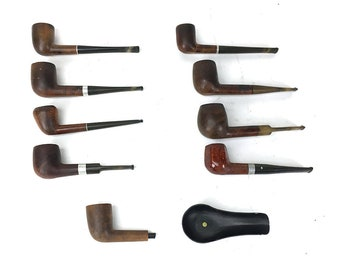 10 Piece VTG Pipe Lot Wood Grain Billiard Briar Mastercraft Deluxe Estate