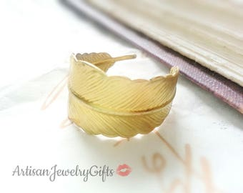 Gold Feather Ring Adjustable Feather Wrap Ring Bohemian Ring Gold Feather Ring Woodland Ring Mother's Day Gift For Her Bohemian Ring