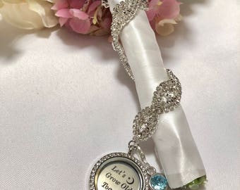 """Silver Round Rhinestone , Wedding Bouquet Charm , """"Lets Grow Old Together""""  Something Blue,Love Charm, Marriage Charm, Husband Charm"""