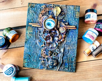 Steampunk collage on canvas - Blue Steampunk - Steampunk gifts for men -  Steampunk home decorating ideas - Recycled art