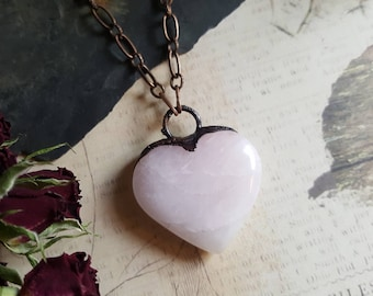 Crystal heart necklace ~ pink rose quartz electroformed heart pendant, big heart valentines day copper chain