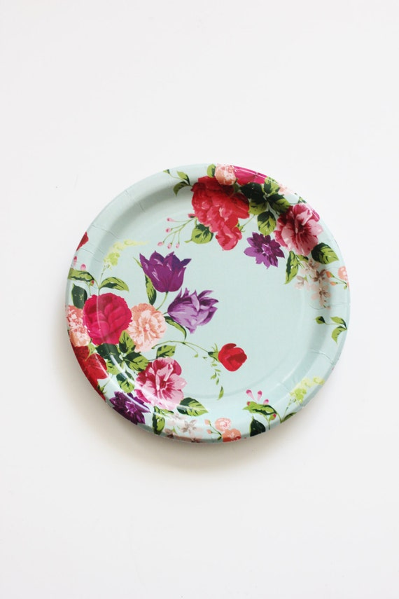 & 8 FLORAL TEA PARTY 7 Paper Plates Parisian Vintage Style