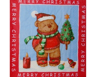 Set of 3 napkins NOE004 Teddy bear with a bottle brush tree in snow