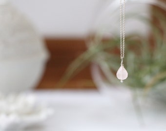 Rose Quartz Faceted Mini Teardrop Necklace