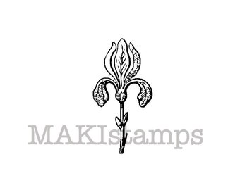 Iris stamp / Medieval stamp / Plant rubber stamp / rubber only or cling stamp option (150719)