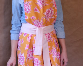 Friday Dinner Apron - Handmade - Orange and Pink - 100% Cotton