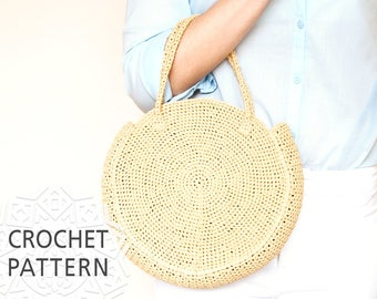 Crochet Bag Pattern, Raffia Bag, Round Bag, Crochet bag, Purse, Handbags, Straw circule bag, Summer Bag, Raphia, Circle purse, Download PDF