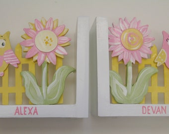 Personalized hand painted bookends,yellow,pink flowers,owl bookends,girl gift,childrens bookends, kids bookends,owl and flower bookends,