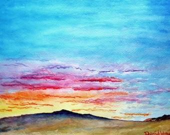 New Mexico Landscape of Mt. Taylor and Jemez ridge line, Original watercolor