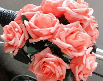 36 pcs Coral Flowers  Fake Roses For Wedding Bouquet Coral Roses Table Centerpieces Decorations
