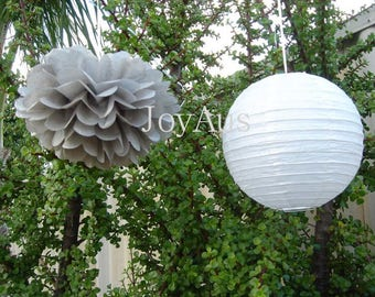 Grey Tissue Paper Pom Poms & White Paper Lanterns for Wedding Engagement Anniversary Birthday Party Bridal Shower Decoration