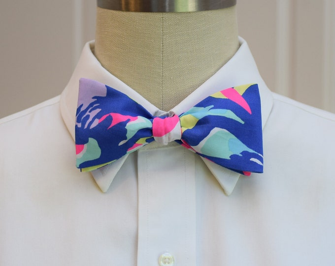 Men's Bow Tie, Cat Walkin' cobalt/hot pink Lilly print bow tie, wedding bow tie, groom bow tie, groomsmen gift, Kentucky Derby bow tie,