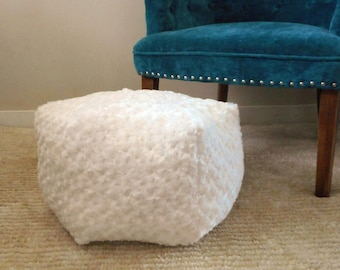 Cream Pouf Ottoman, Bohemian Nursery decor, Small Pouf