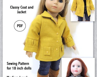 Classy Coat and Jacket - Doll Clothes Pattern for 18 inch Doll