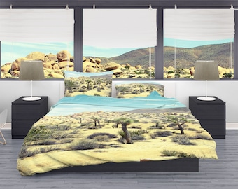 Joshua Tree Desert Duvet Cover, Dorm Bedding, Southern California, Dorm Room Bedding Set, Cactus Bedroom, Desert Bedroom, Bright Bedroom