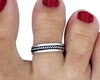 Sterling Silver Toe Ring, Midi Ring, Mid Finger Ring, Knuckle Ring, Adjustable Ring, Rope Ring, Rope Toe Ring, Oxidized Silver Ring
