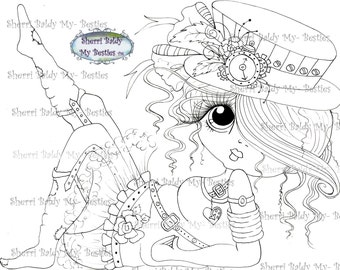 INSTANT DOWMLOAD Digital Digi Stamps Big Eye Big Head Dolls Digi Img085  New My Besties Tm STEAMPUNK By Sherri Baldy