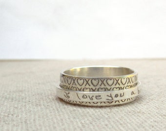 Jewelry - Custom Handwriting Ring   -  Spinner Ring  -  Silver Engraved Jewelry - Graduation Gift - Custom Ring - Worry Ring