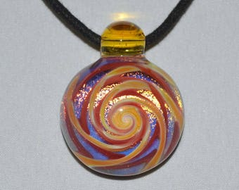 Blown Glass Pendant Necklace - Trippy Boro Lampwork Glass Jewelry - Heady Pendant