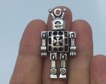 2 Antique Silver Robot Charm (double-sided) 4.2cm x 2.2cm - SC1205