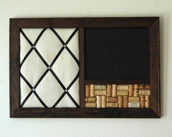 Corkboard, Chalkboard, & French Memo Board Wall Organizer with Embroidered Fabric