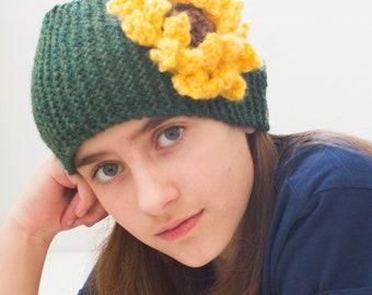 Sunflower ear warmer