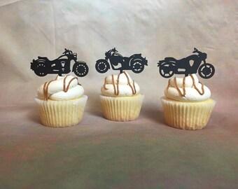 Motorcycle Cupcake Toppers, Harley Davidson Cupcake Topper, Rugged Cupcake Toppers,  Edgy Cupcake Toppers, Biker Cake Topper, Cupcake Topper
