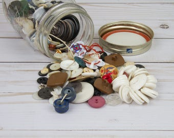 Vintage Buttons - Jar of Buttons - Upcycled Buttons - Vintage Sewing Supplies - Vintage Sewing Notions - Buttons - Sewing Supplies