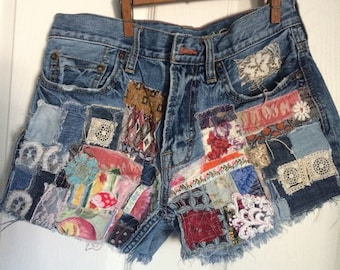 patched up shorts, hippie, grunge, bohemian, festival, up cycled, distressed denim, size 29