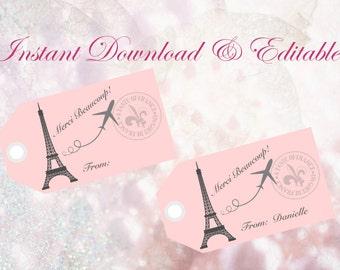 Editable-Paris Favor Tags, Paris Theme Favor Tags, Bridal Shower Favor Tags, Baby Shower, Wedding Favor Tags, Paris Party Thank You Tags