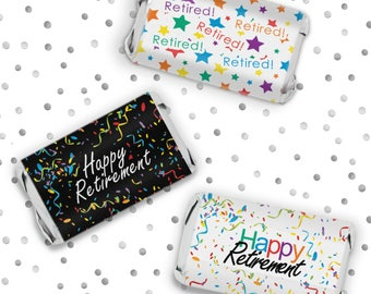 Retirement Party Decorations, Retirement Party Favors, Retired -  Stickers for Hershey Miniature Candy Bars - Happy Retirement - 54 Count