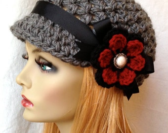 Valentine's Crochet Womens Hat, Newsboy, Charcoal, Very Soft, Chunky, Flower, Ribbon, Warm, Teens, Winter, Ski Hat, JE407N10
