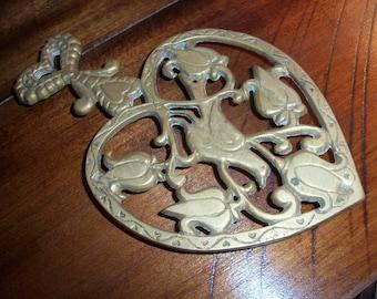 Vintage Brass Trivet Kitchen Dove Tulip Heart Shaped Wall Decor