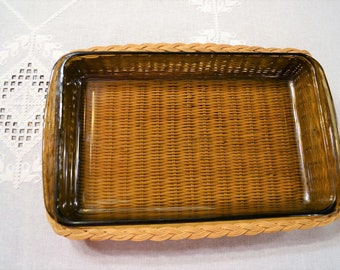 Vintage Pyrex Rectangular Casserole with Basket 2 Liter Brown Glass Lasagna Pan Casserole Cookware Bakeware PanchosPorch