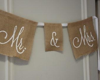 Mr. & Mrs. Burlap Banner - Wedding Decor