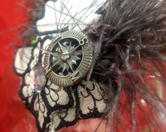 Steampunk Fascinator Headband Vintage Material Compass Cosplay Derby Halloween Goth Ostrich Feather Grey Embroidered Trim Timeless Elegance